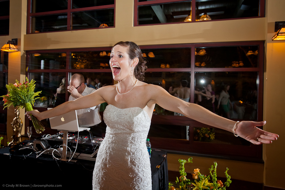 Bride prepares to throw bouquet