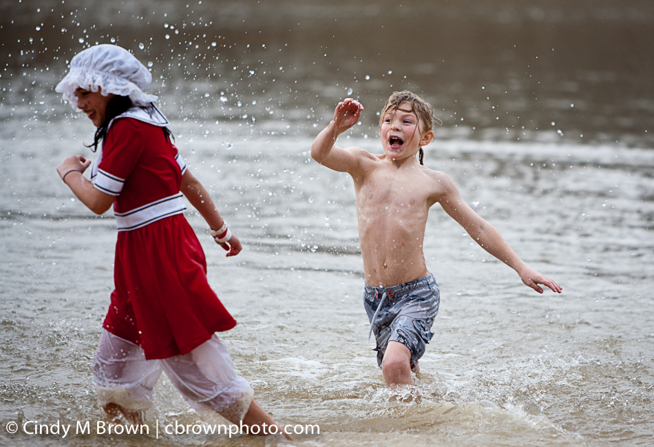 Children in Pine Lake at the Polar Bear Plunge