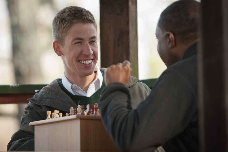 Daniel and Michael playing chess