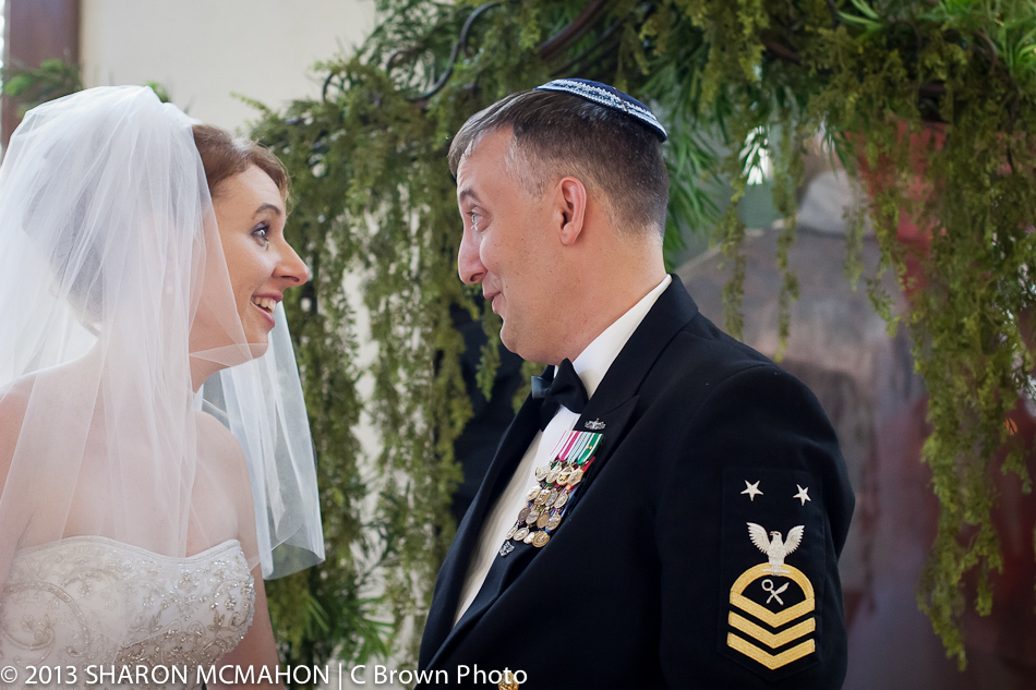 Bride and Jewish Groom in Uniform