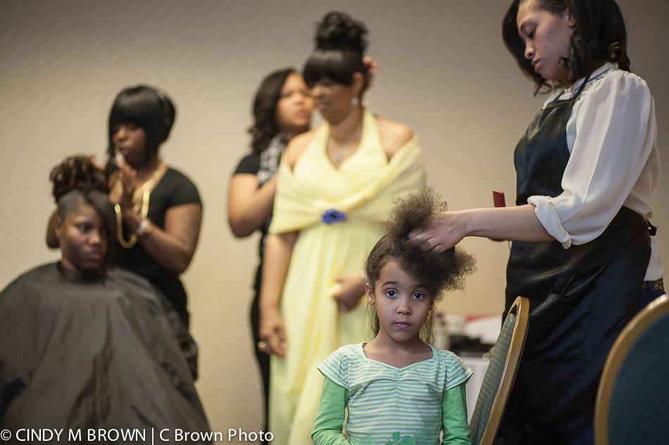 Flower girls gets hair done