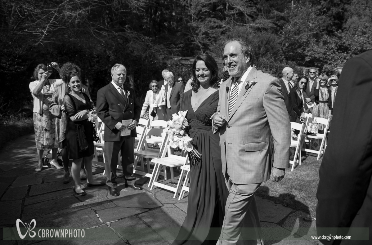 Michelle and Abrum turned wedding tradition upside down by coming down the aisle together to start the ceremony.