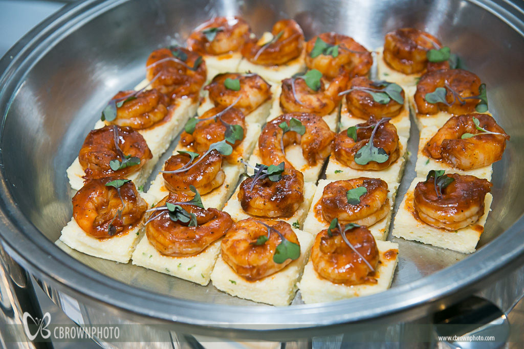 My favorite dish of the night? Shrimp on grit cakes!