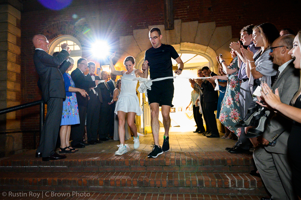 Running Bride and Groom Exit