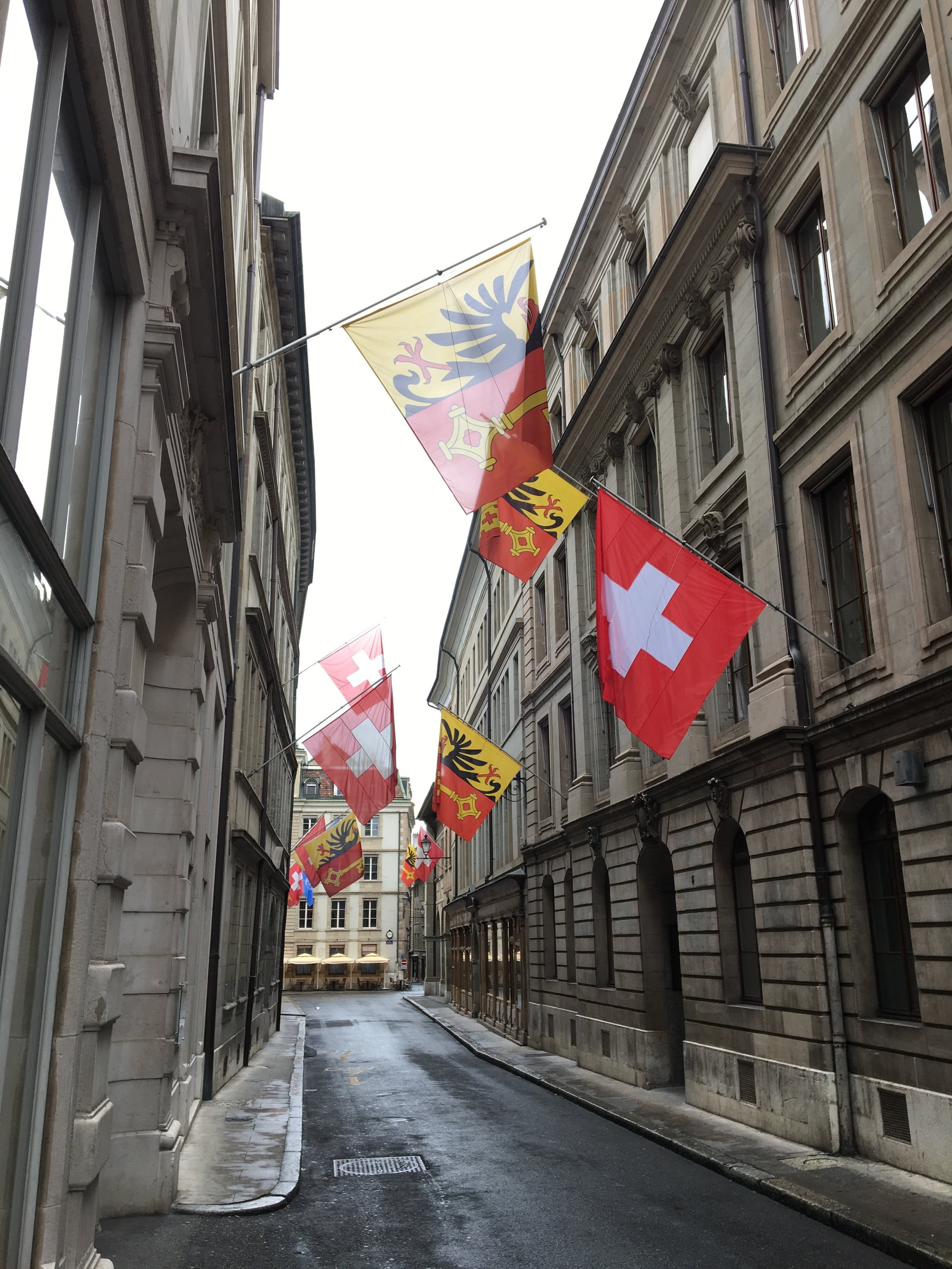 Old town Geneva Flags