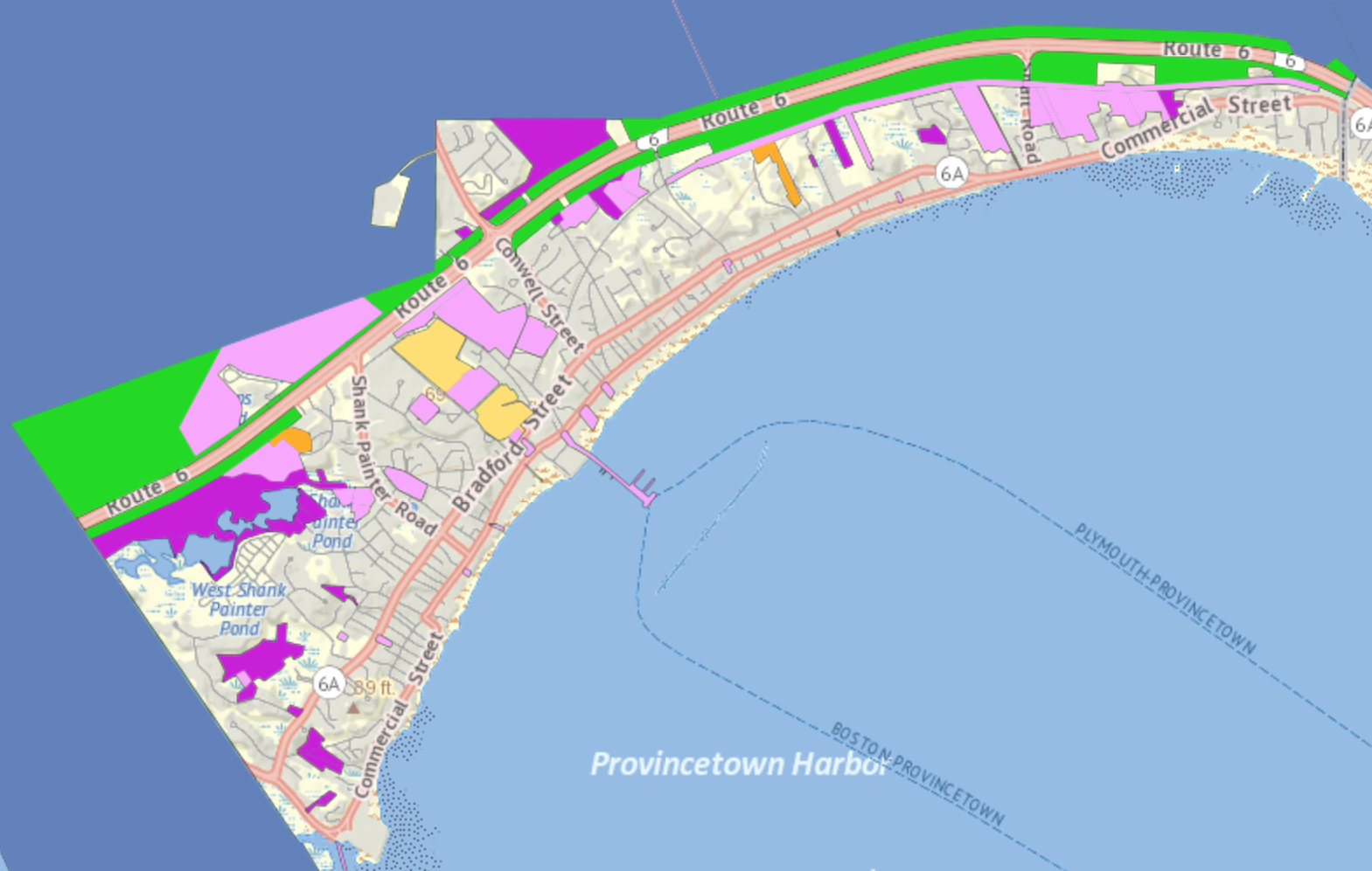 Map of Conservation Trust-owned and Town Protected Lands in Provincetown.