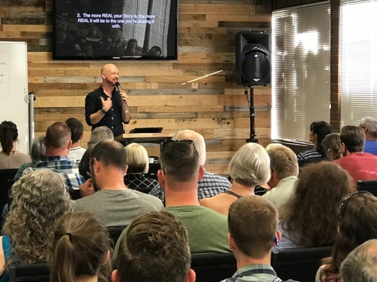 Pastor David Martin, leading the Avoiding Awkward Evangelism Workshop, Sunday evening, July 23.