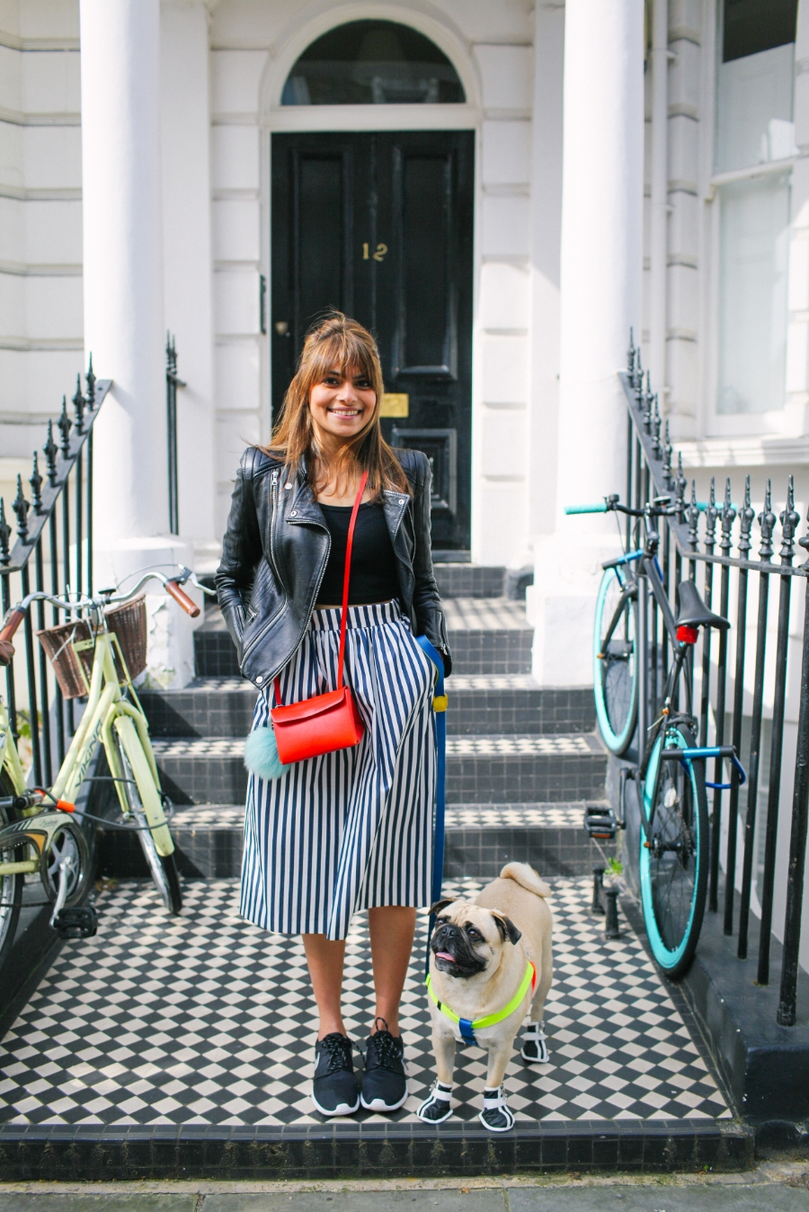 honeyifdressedthepug-uk-london-nottinghill-red-pug-puglife-pugswag-dog-pet-doggyshoes-stripes-midi-skirt-zara-pompom-squishyface-arithepug-puppy-coolpups-trendy-chic-sneakers-nike-door-colours-fashion-streetstyle-bike-harness-leadthewalk-bikerkacket