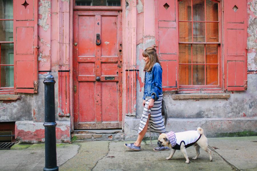 honeyidressedthepug-pug-puglife-pugswag-dog-fashion-streetstyle-hoody-spitalfields-eastlondon-london-pet-pooch-hound-midi-dress-slit-bangs-urbandecay-stripes-denim-jacket-pippolli-gap-zara