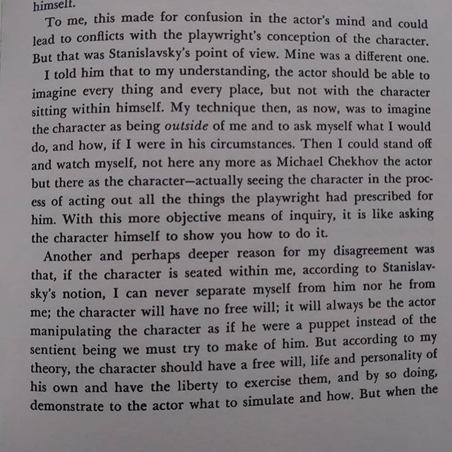 #MichaelChekhov on how his approach to #acting differs from Stanislavsky's in Chekhov's TO THE DIRECTOR AND PLAYWRIGHT. . . . . #actingstudio #actingclass #actorslife #actor #actress #clevelandactors #Cleveland #clevelandactor #clevelandactress #performance #performer #clevelandartist