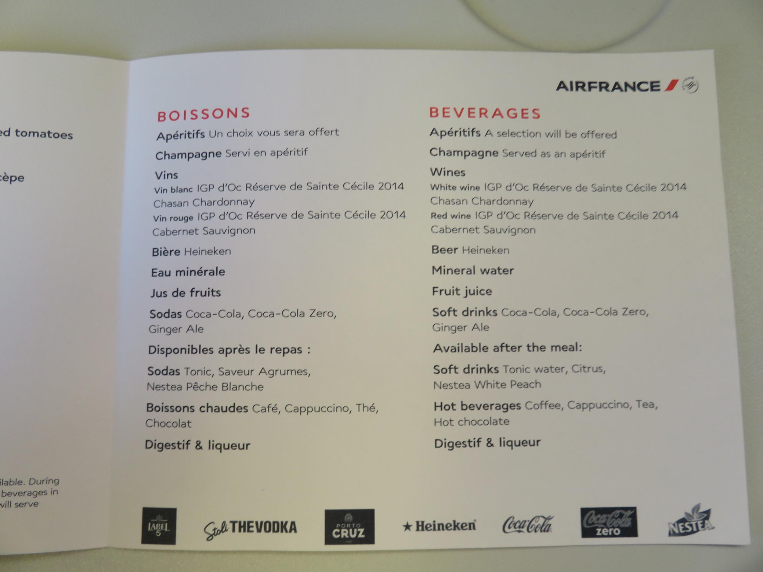 Air France economy dinner menu