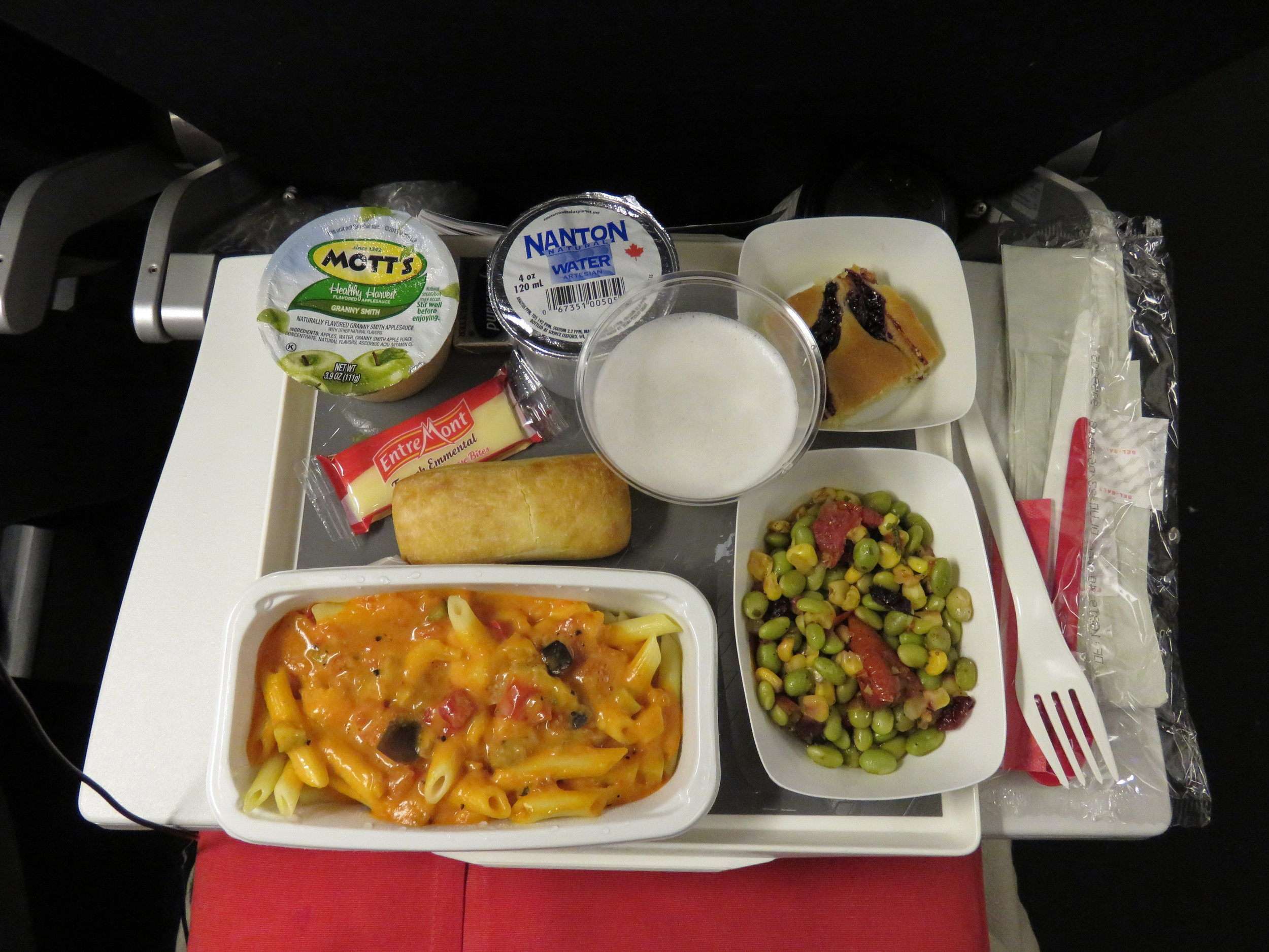 Air France's pennine pasta with rosee sauce