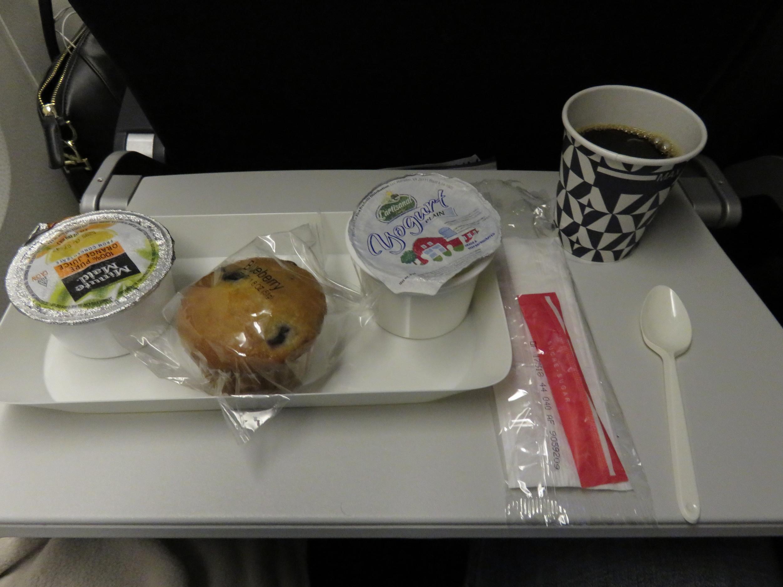 Air France pre-arrival breakfast