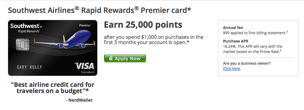 Apply for the  Southwest Airlines Rapid Rewards Premier Card
