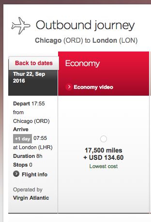 One-way redemption for Virgin Atlantic flight between Chicago and London