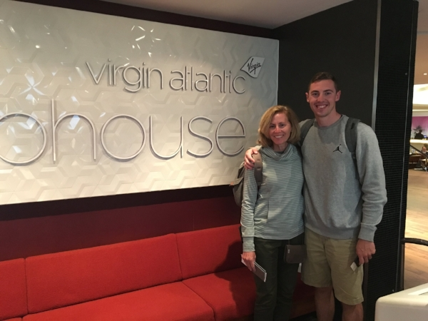 My Mom and I outside the Virgin Atlantic Clubhouse