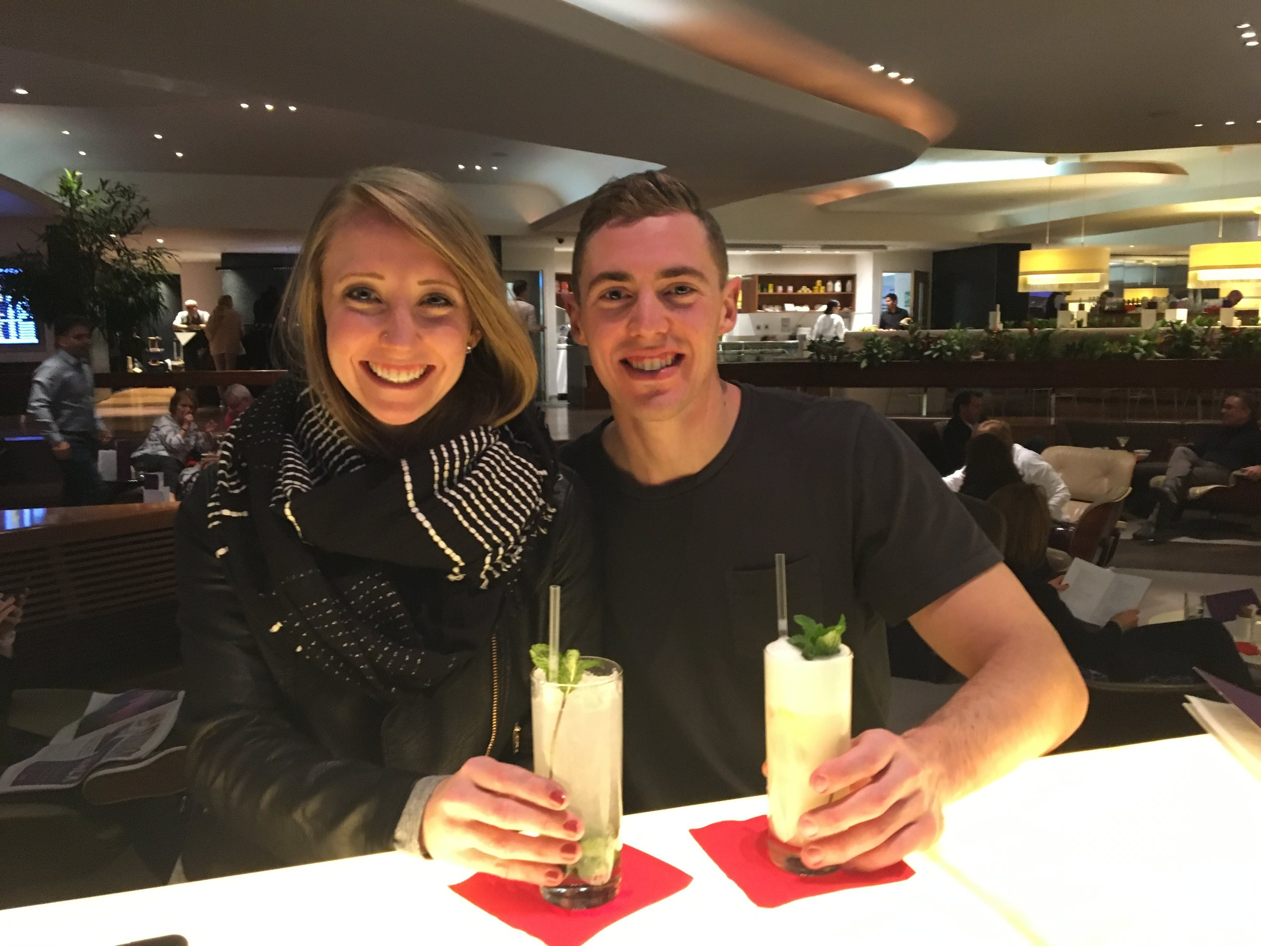CHEERS FROM THE VIRGIN ATLANTIC CLUBHOUSE BAR