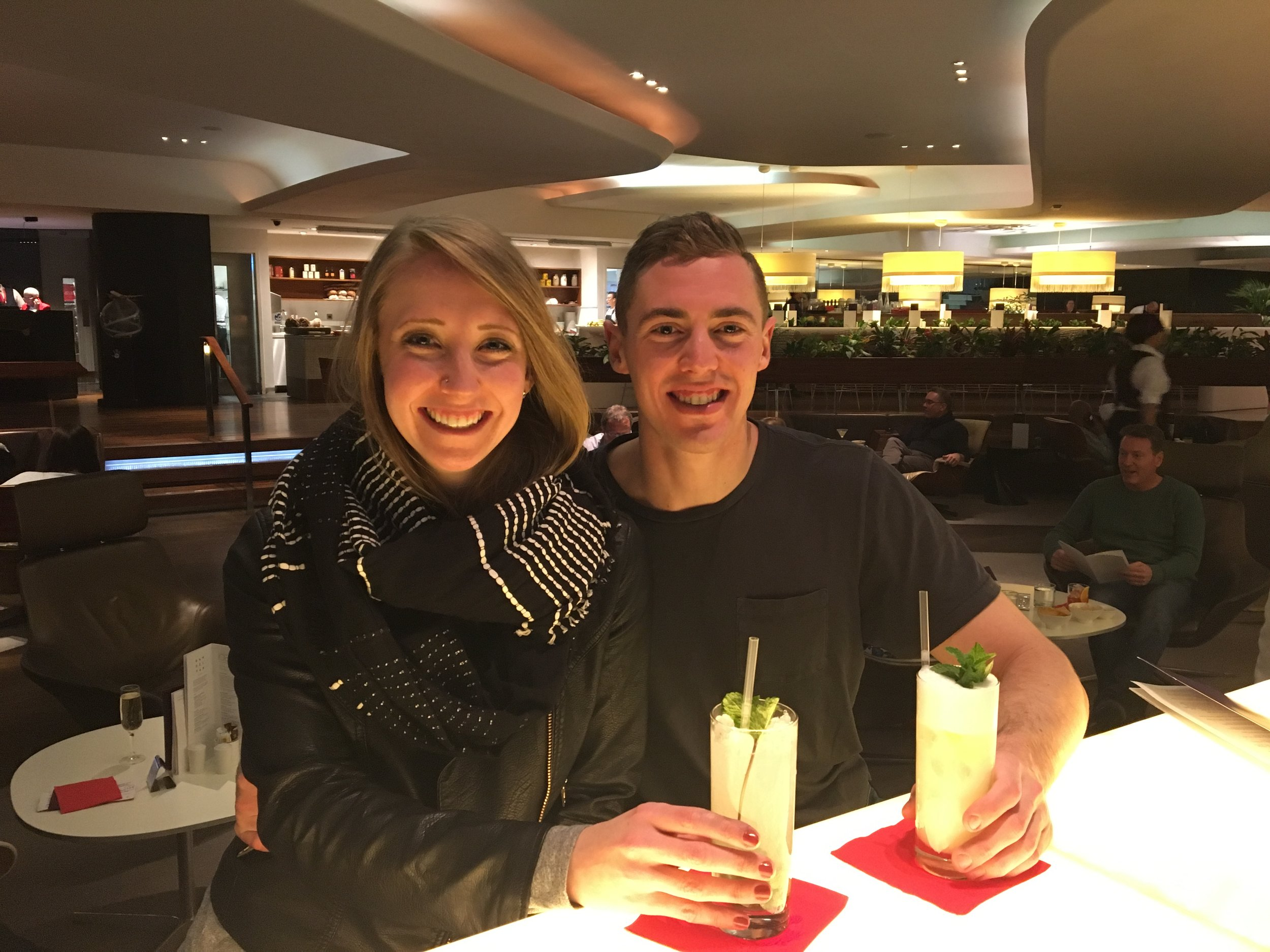 ENJOYING SOME COCKTAILS AT THE VIRGIN ATLANTIC CLUBHOUSE