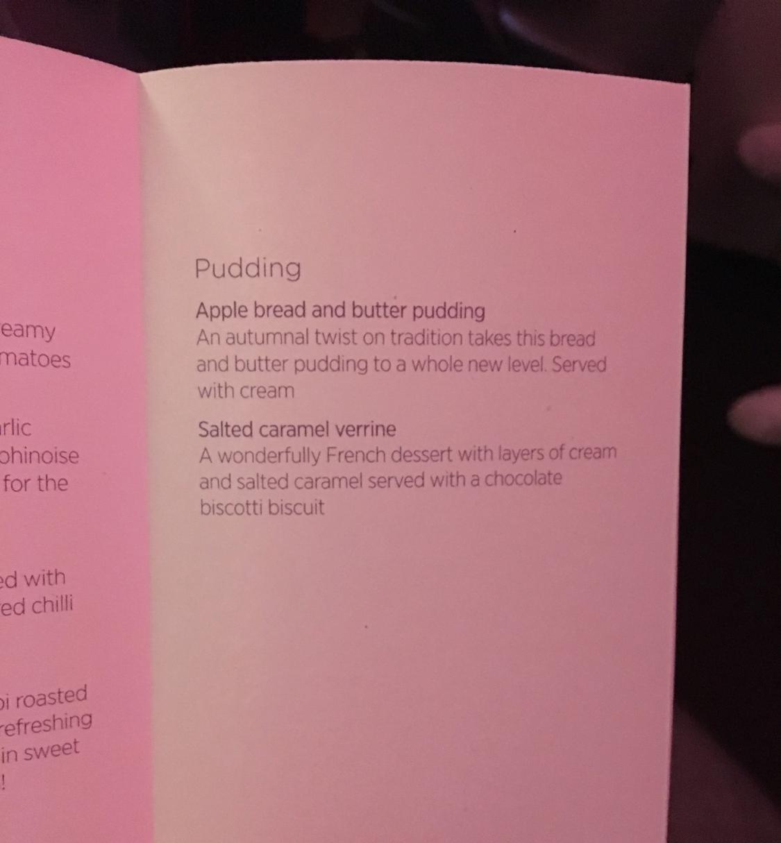 VIRGIN ATLANTIC UPPER CLASS dinner menu