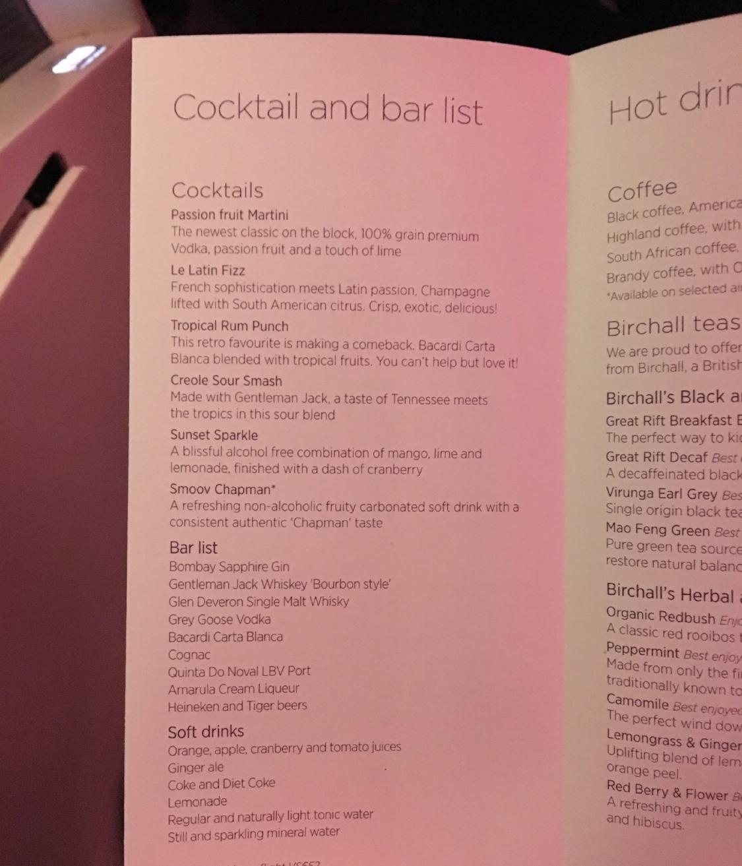 VIRGIN ATLANTIC UPPER CLASS drink menu