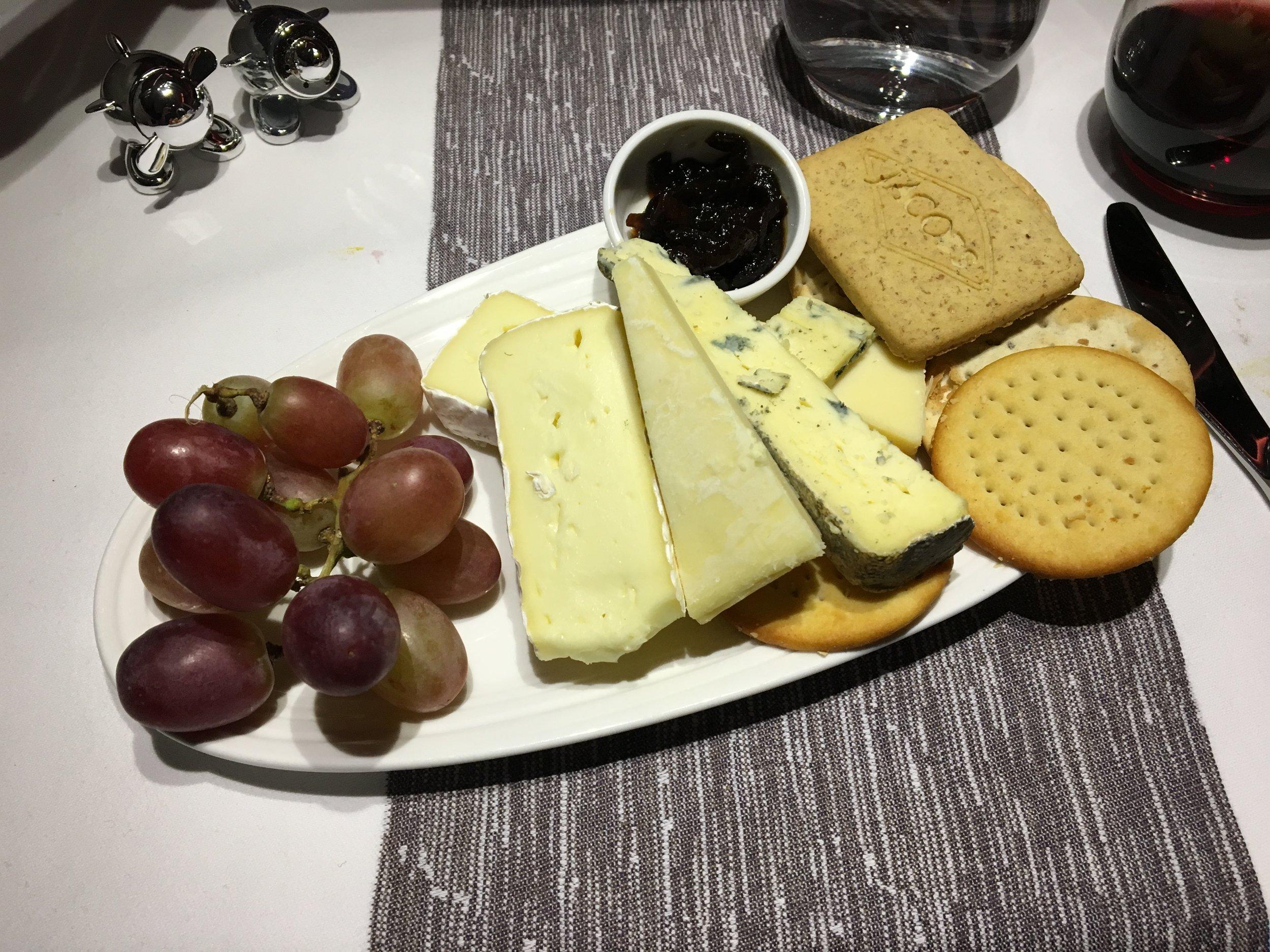 VIRGIN ATLANTIC UPPER CLASS cheese & crackers