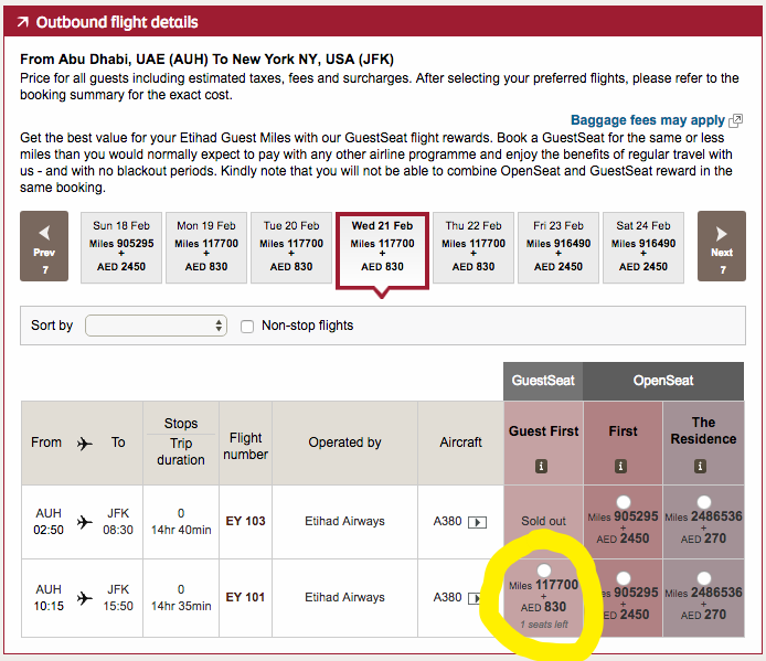 USE ETIHAD GUEST'S WEBSITE TO SEARCH FOR AWARD SPACE