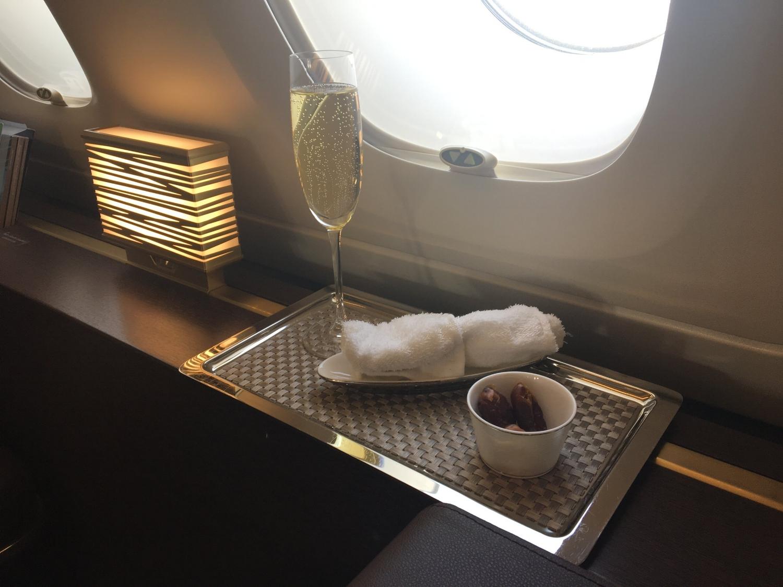 ETIHAD A380 FIRST CLASS CHAMPAGNE