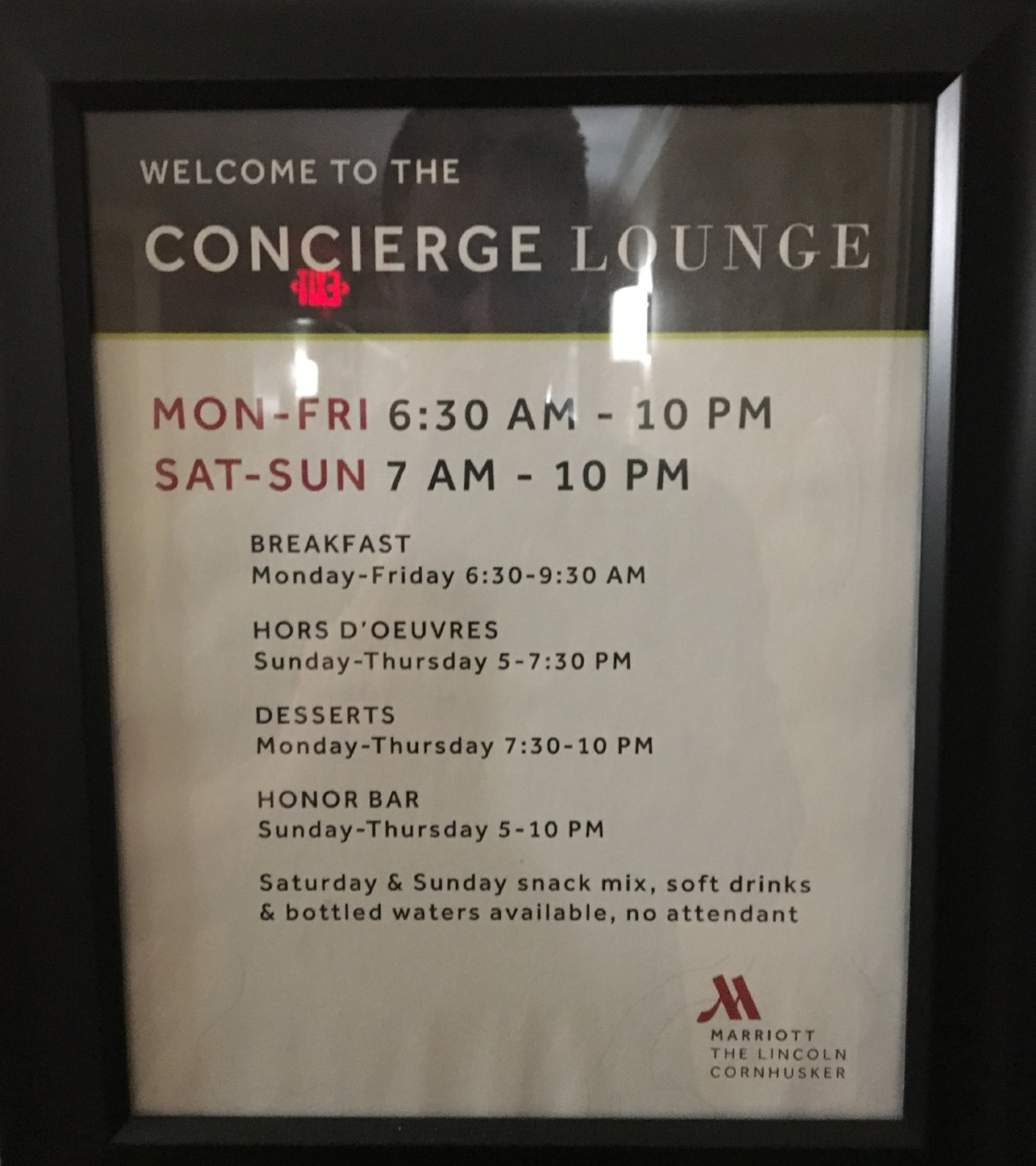 Lincoln Marriott Cornhusker Concierge's lounge