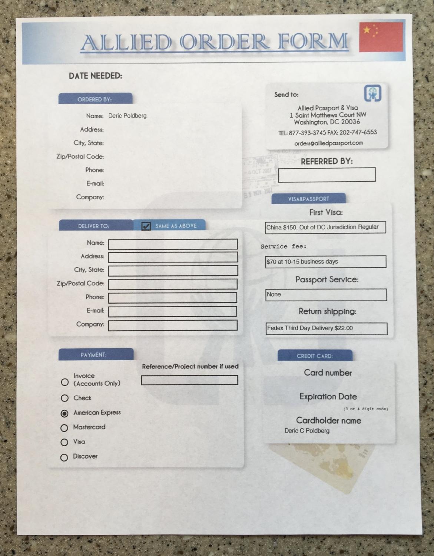 ONE ALLIED PASSPORT & VISA ORDER FORM