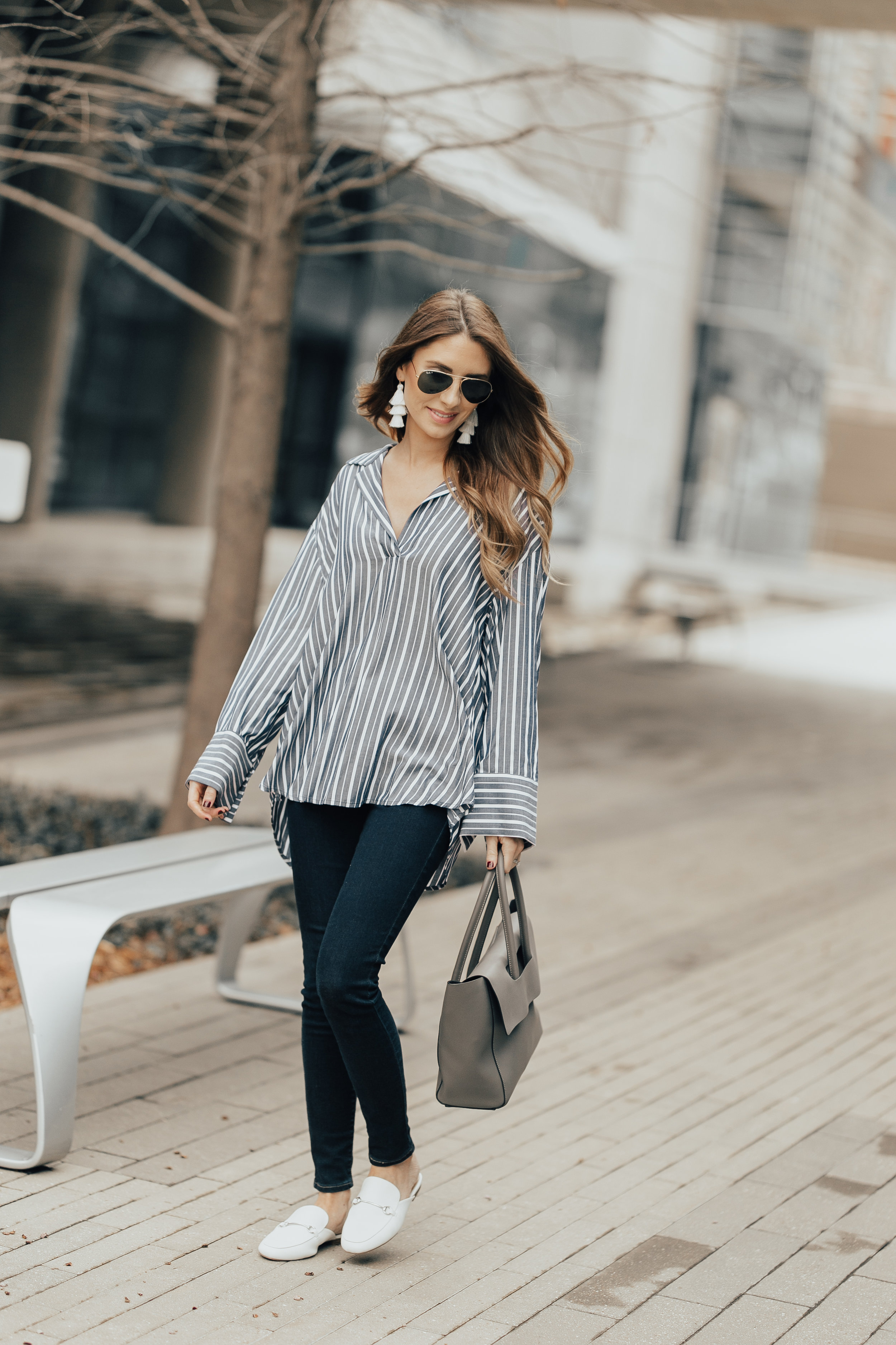 Striped Top + White Mules