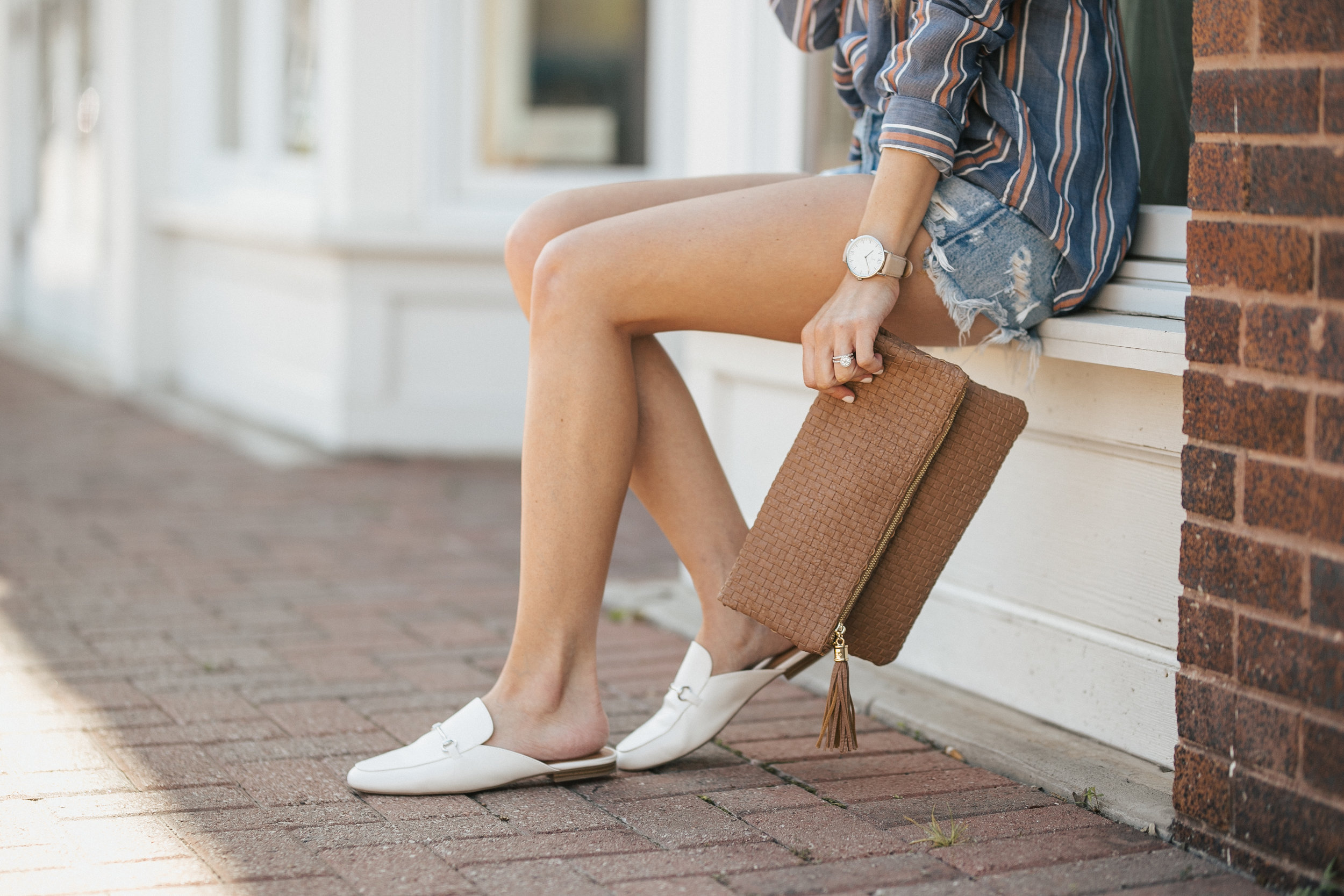 Button Down + White Mules
