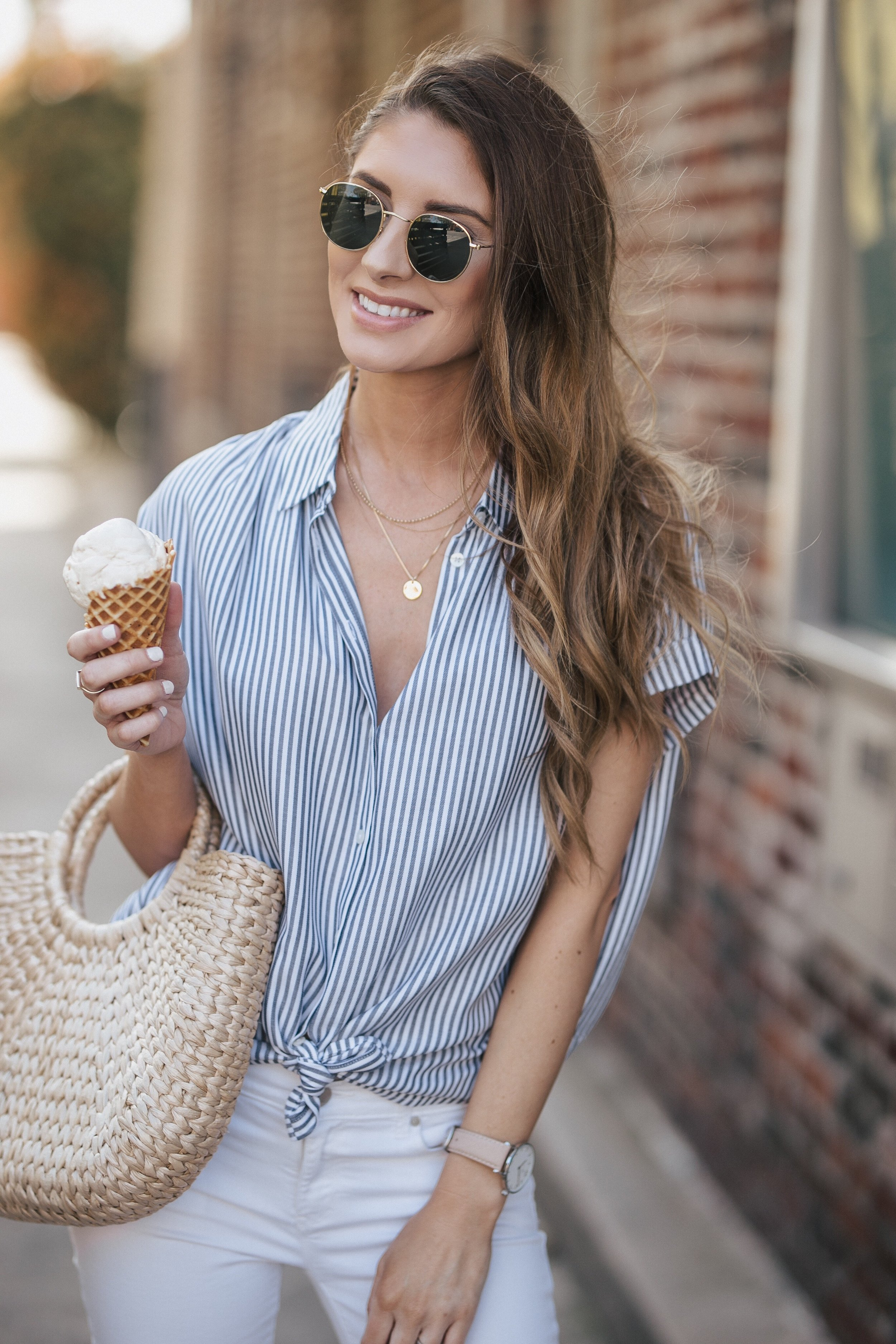 Striped Madewell Top + White Pants