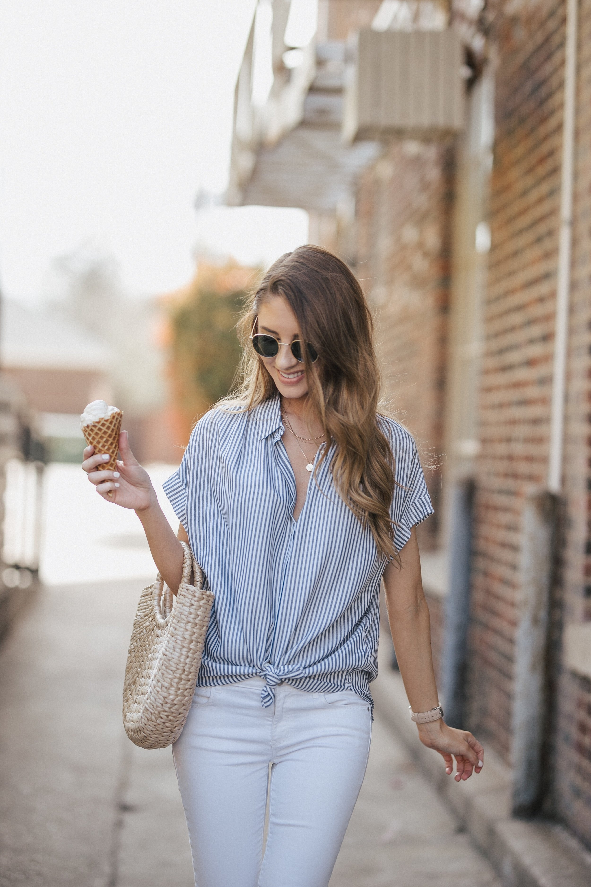 Striped Madewell Top + White Jeans