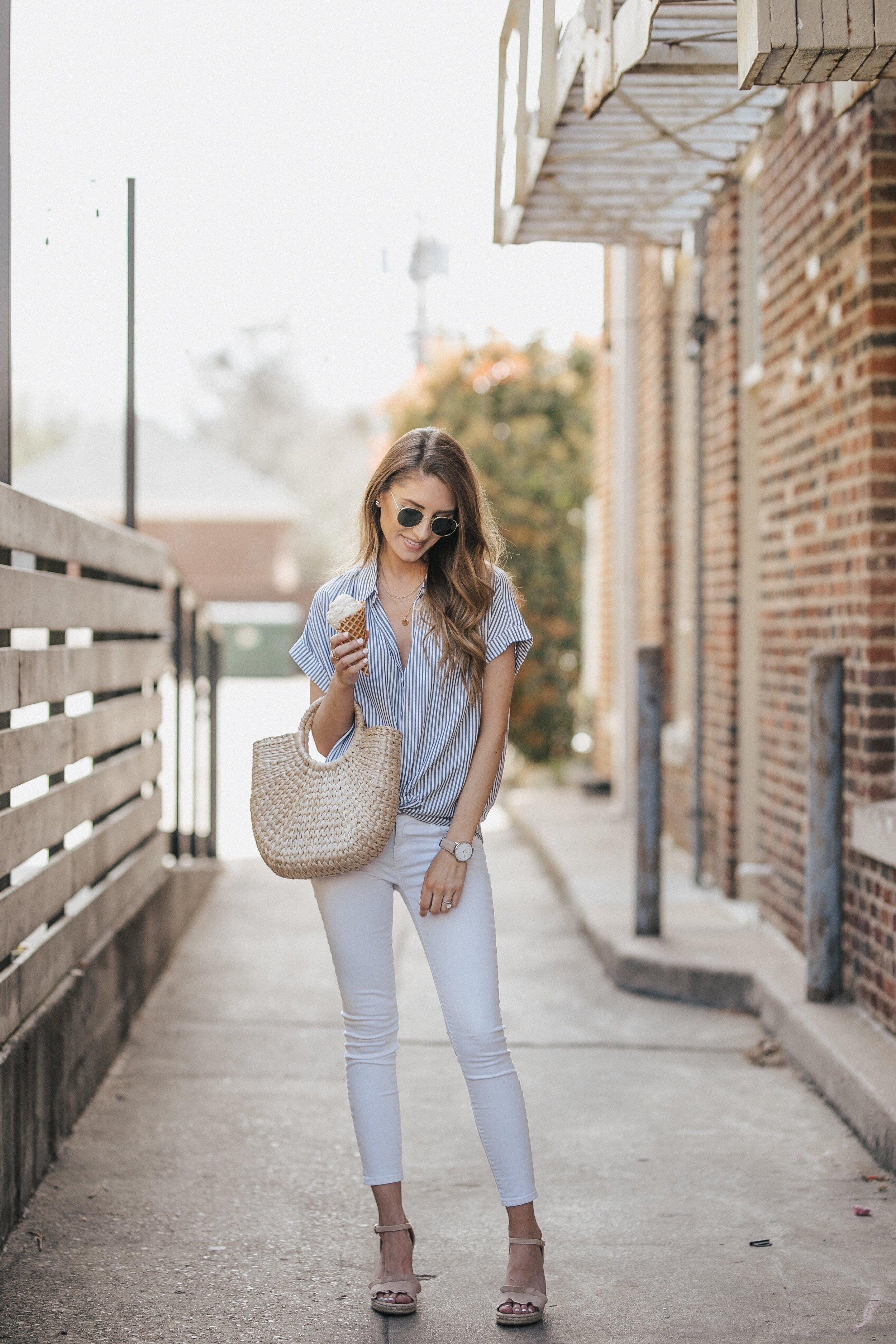 Striped Madewell Top + White Denim