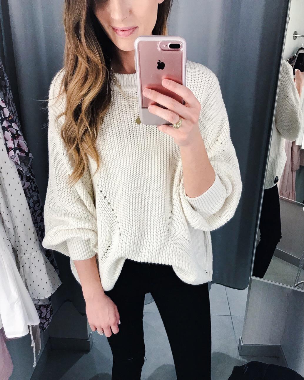 White Knit Sweater - Megan Kristine Blog
