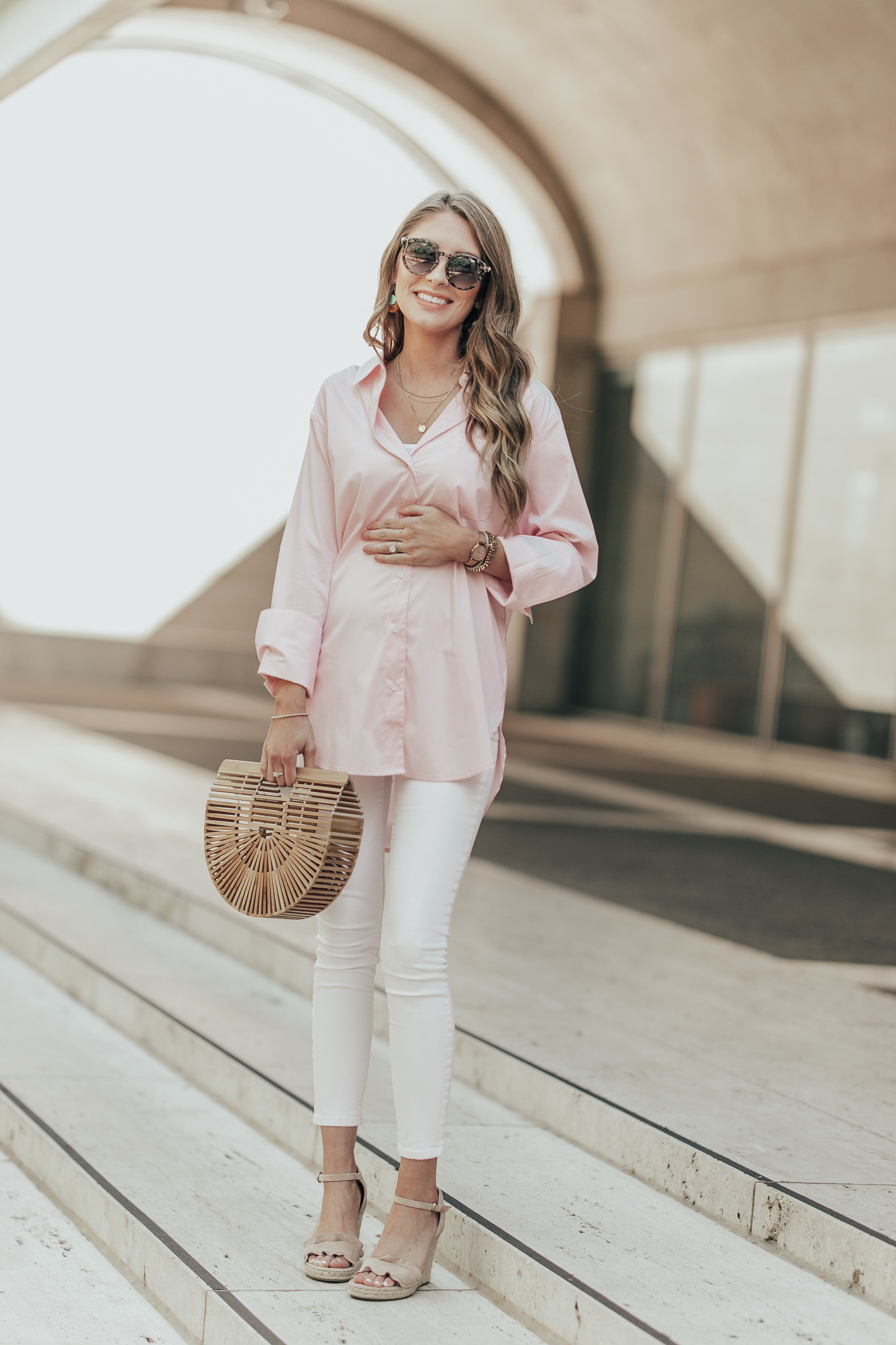 Pink Button Down + White Denim
