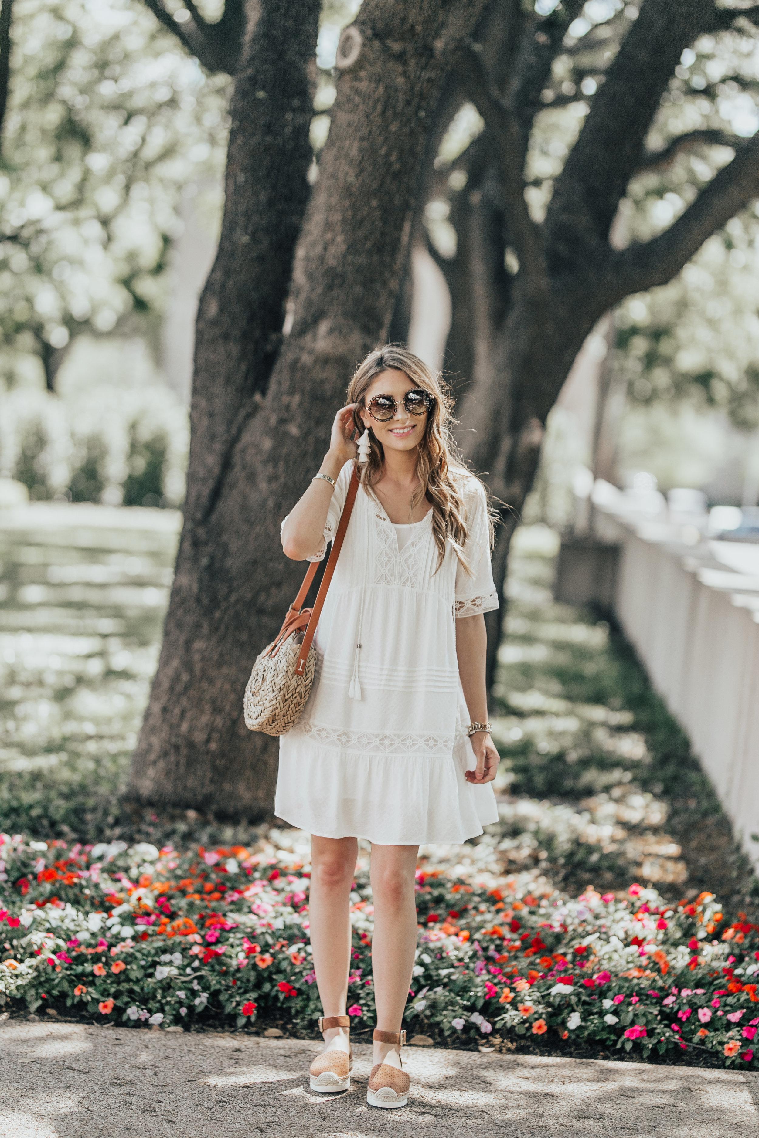 White Dress + Round Straw Bag