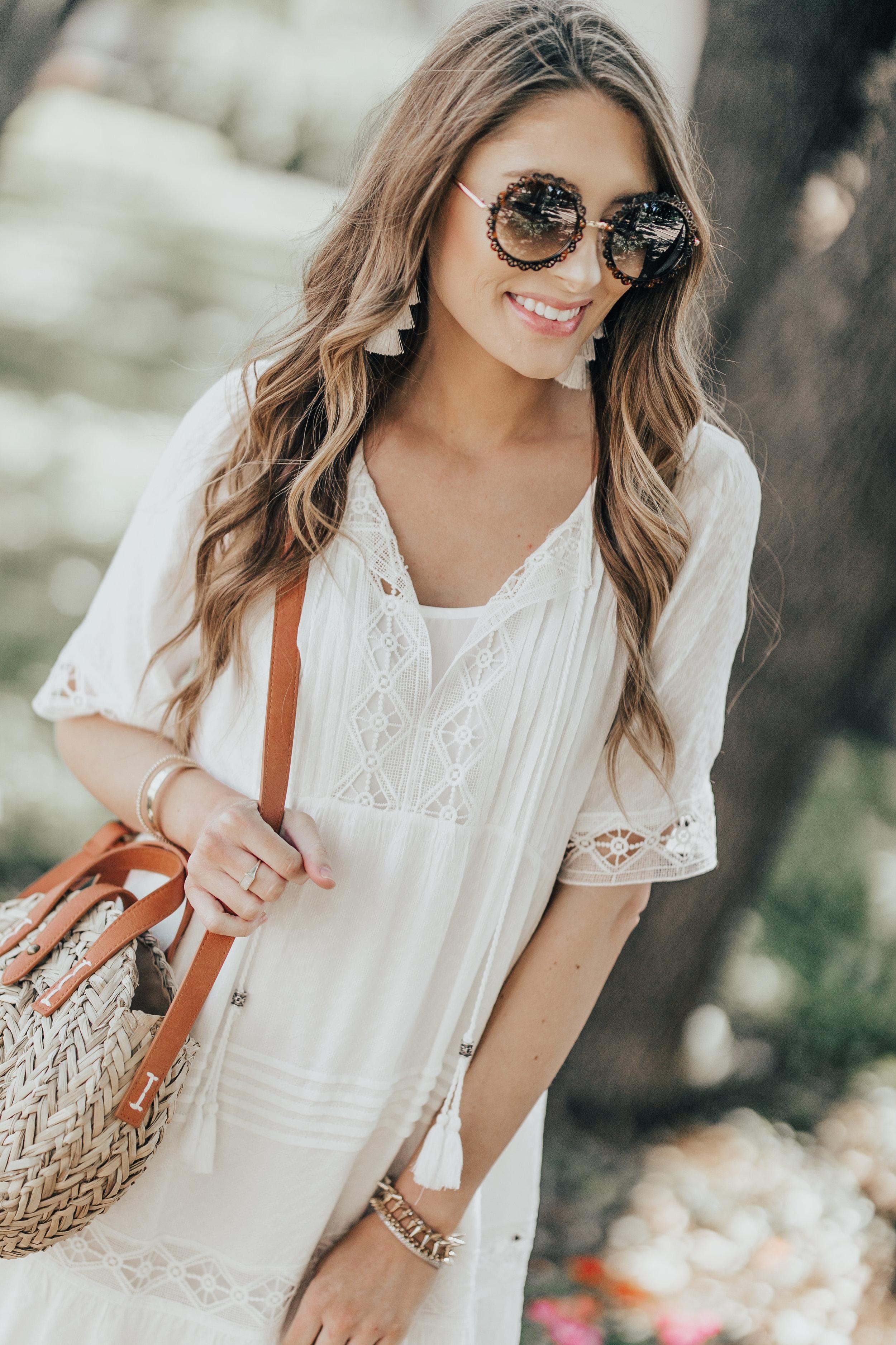 White Dress + Straw Bag