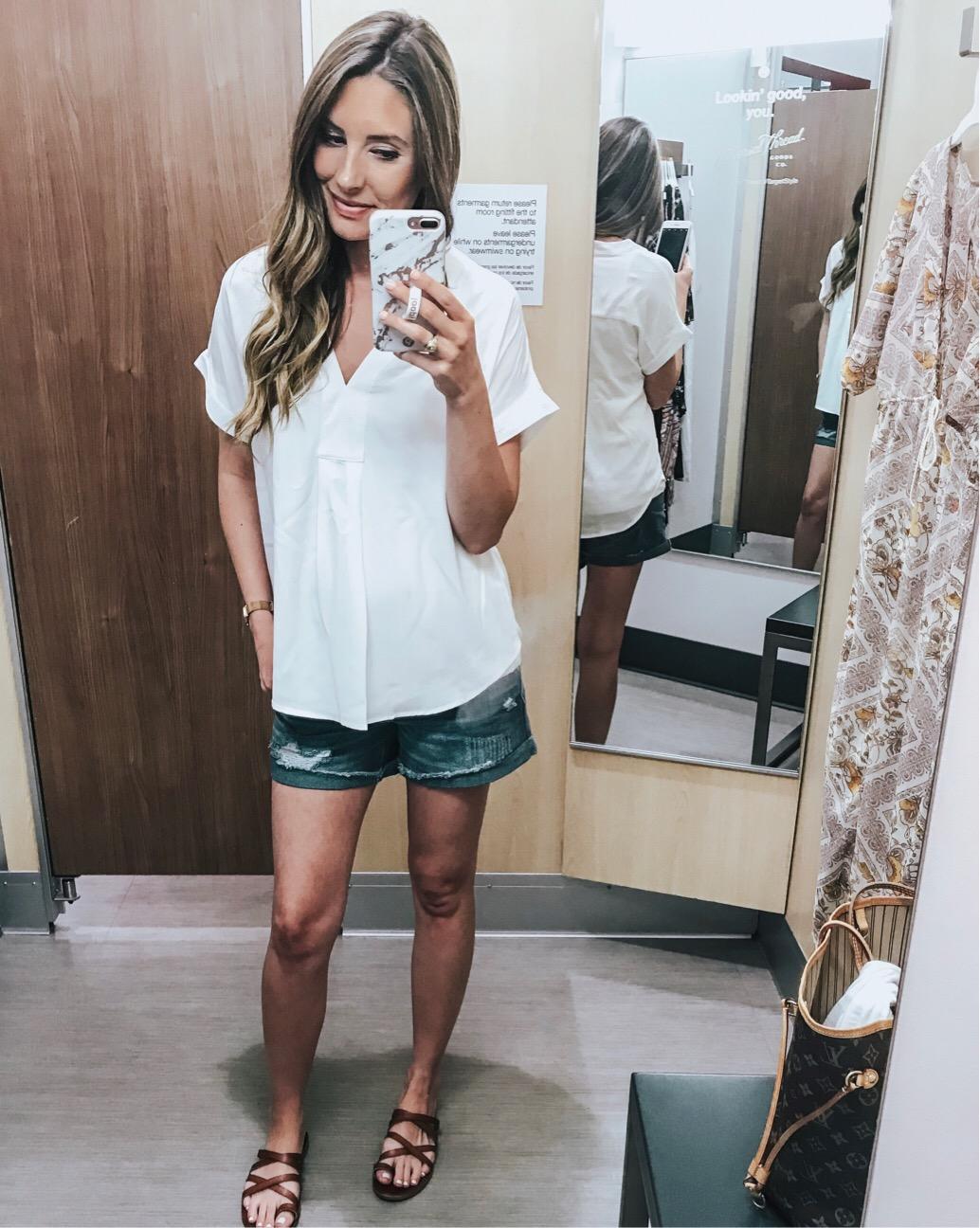 White Top, Denim Shorts - Megan Kristine