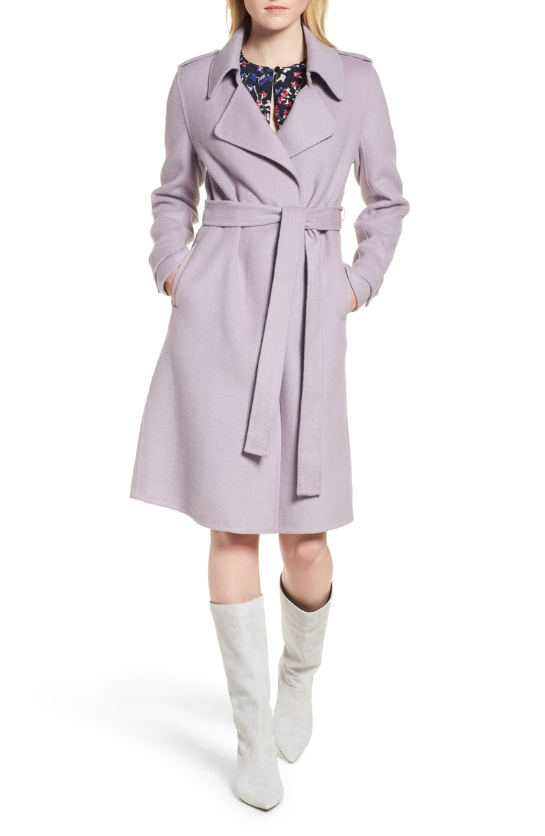 Badgley Mischka Double Face Wool Blend Wrap Front Coat - SALE: $229.90 (after sale: $349)