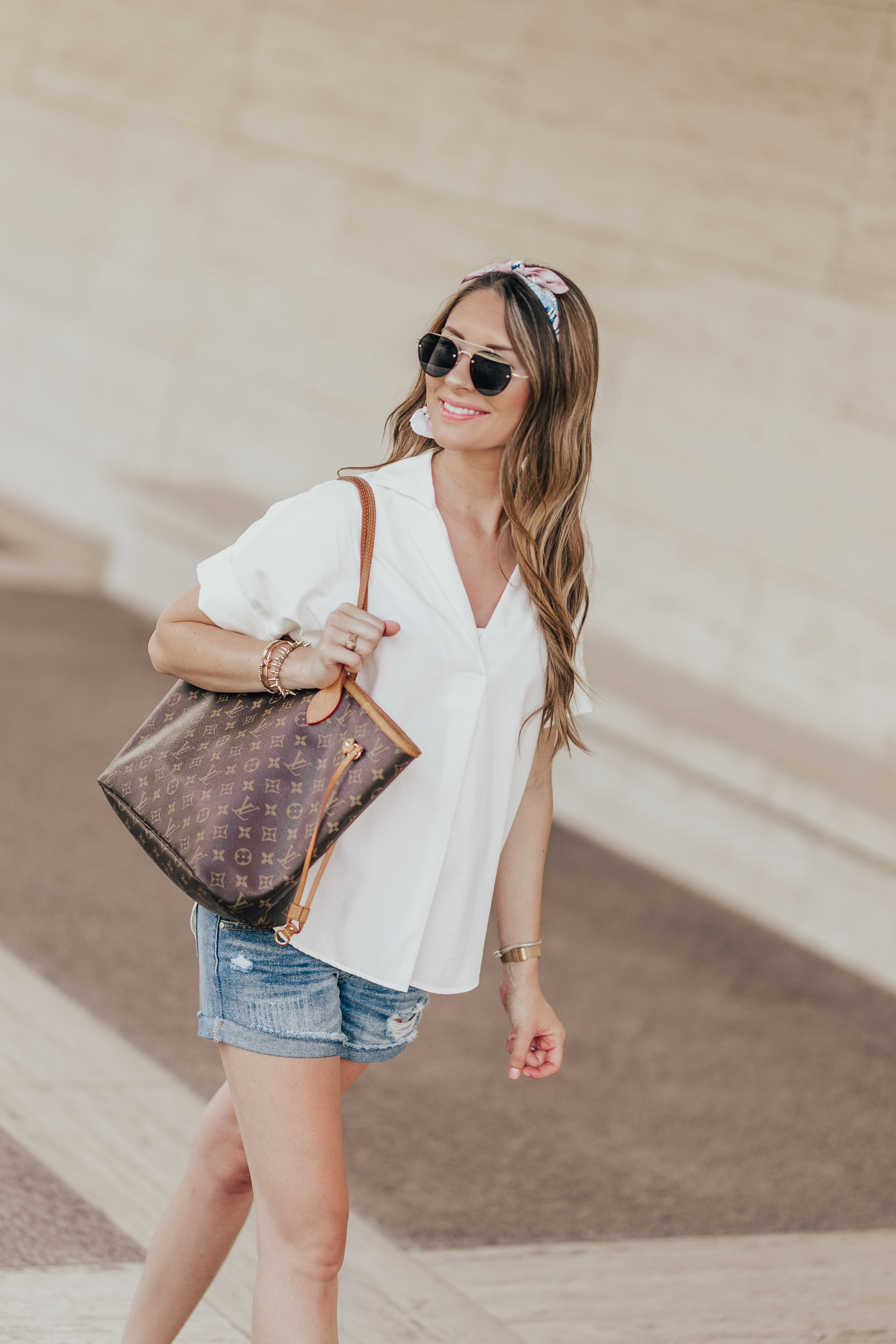 White Madewell Top + Maternity Shorts