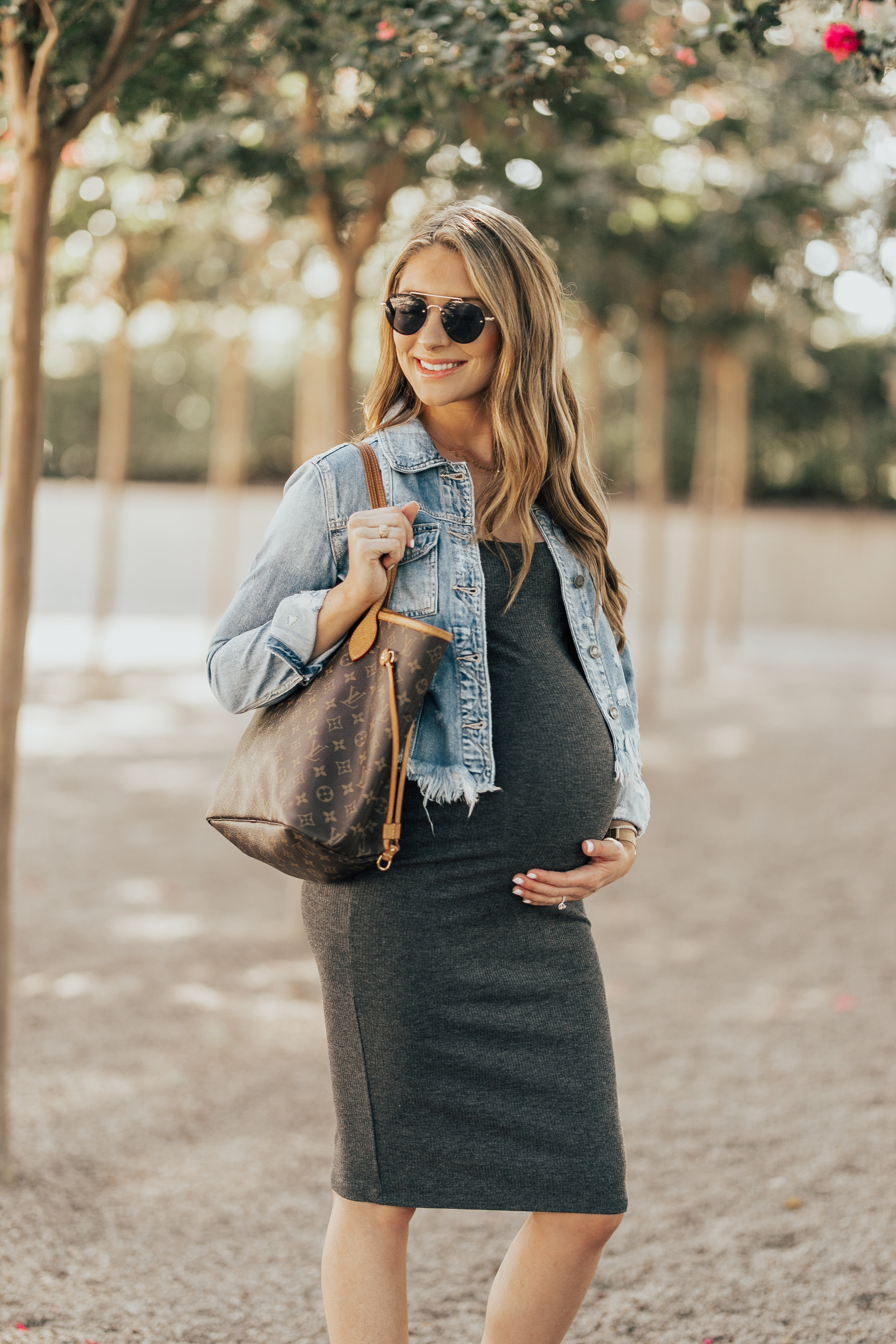 Denim Jacket + Jersey Dress - Maternity Style