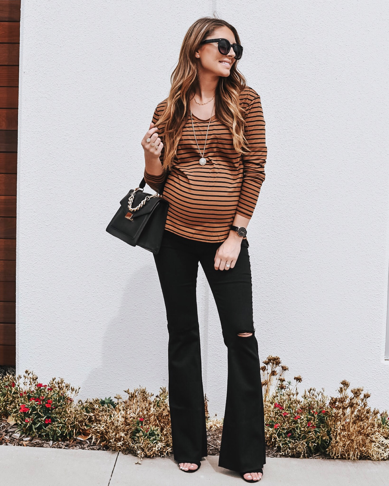 Comfy Striped Tee - Love these colors together for fall! Currently on sale for $17. Wearing a small!