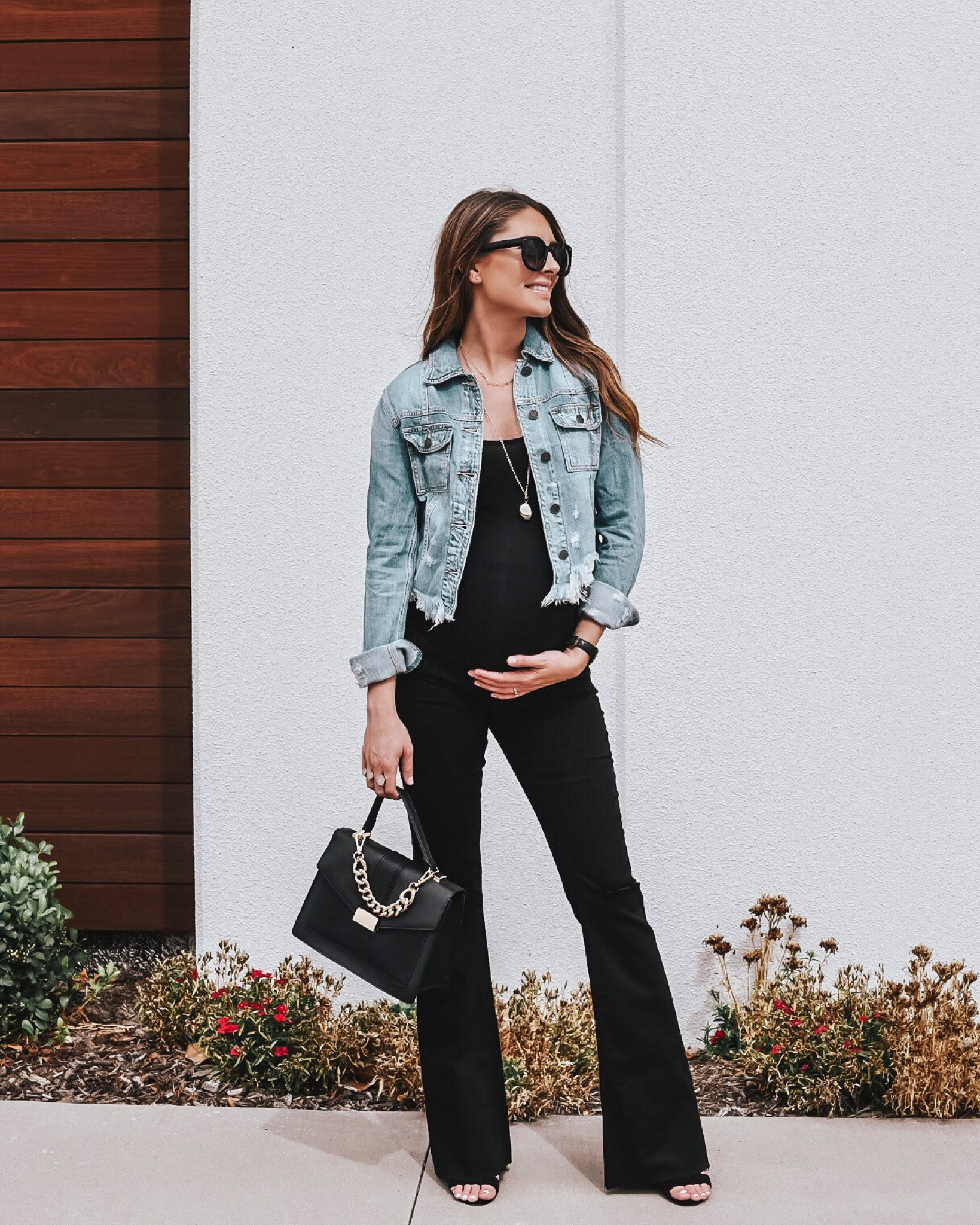 Flared Maternity Jeans - The maternity jeans of my dreams! How fun is that flare?! Run tts - they have a raw hem, so I just cut them to adjust the length.