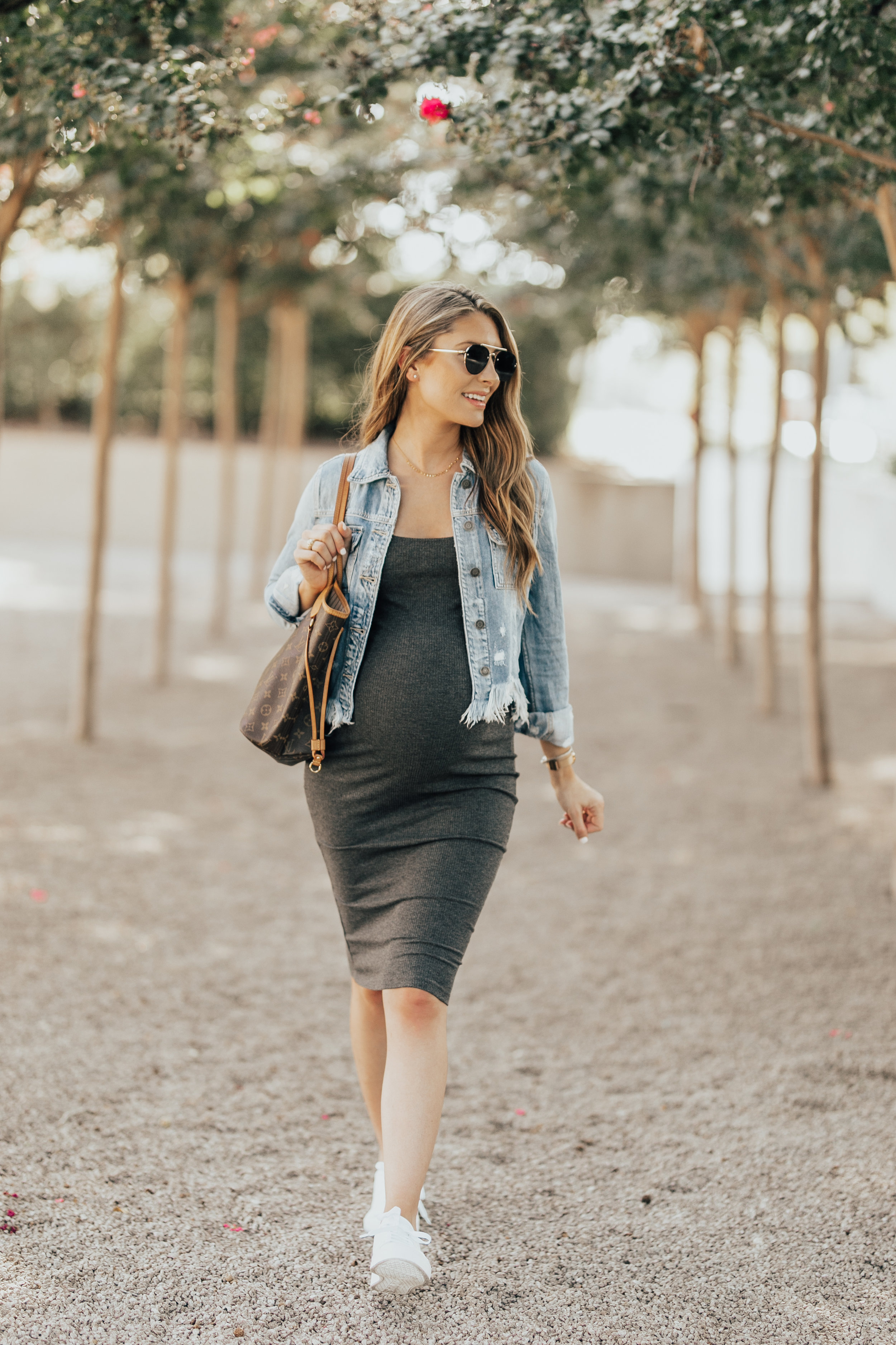 Ribbed Jersey Dress - The same dress as above, style with sneakers and a denim jacket. Perfect for a day full of errands. Non-maternity, wearing a small - $20!