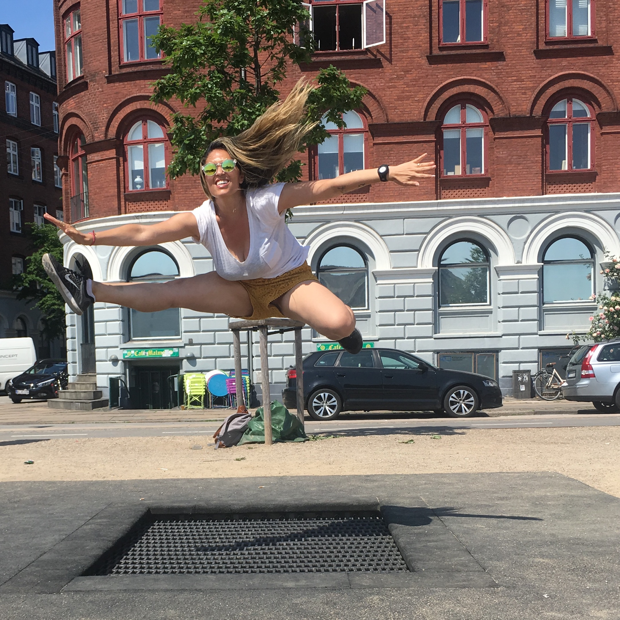 the city has public trampolines!