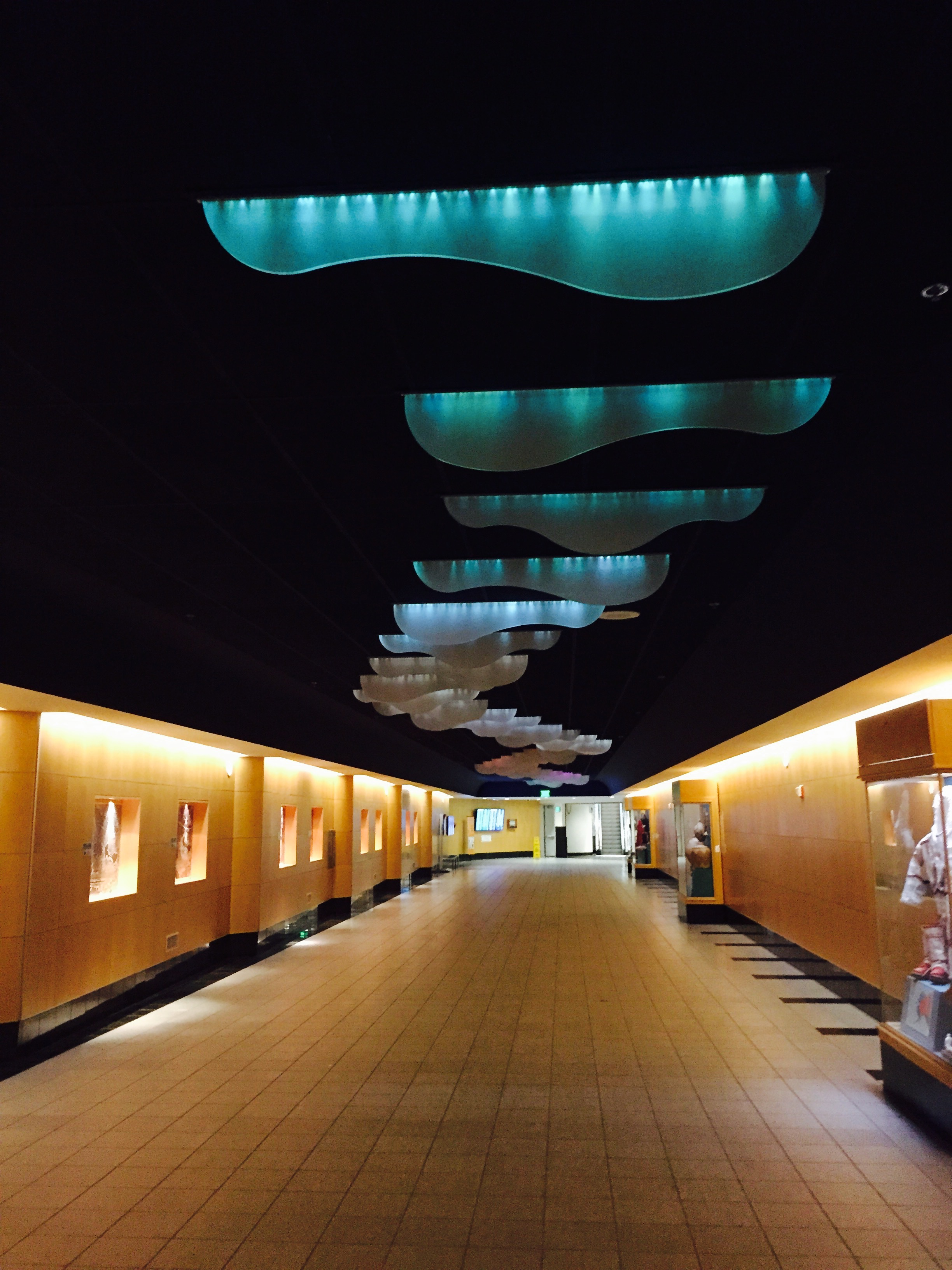 Exiting the Anchorage Airport. Love the Aurora installation