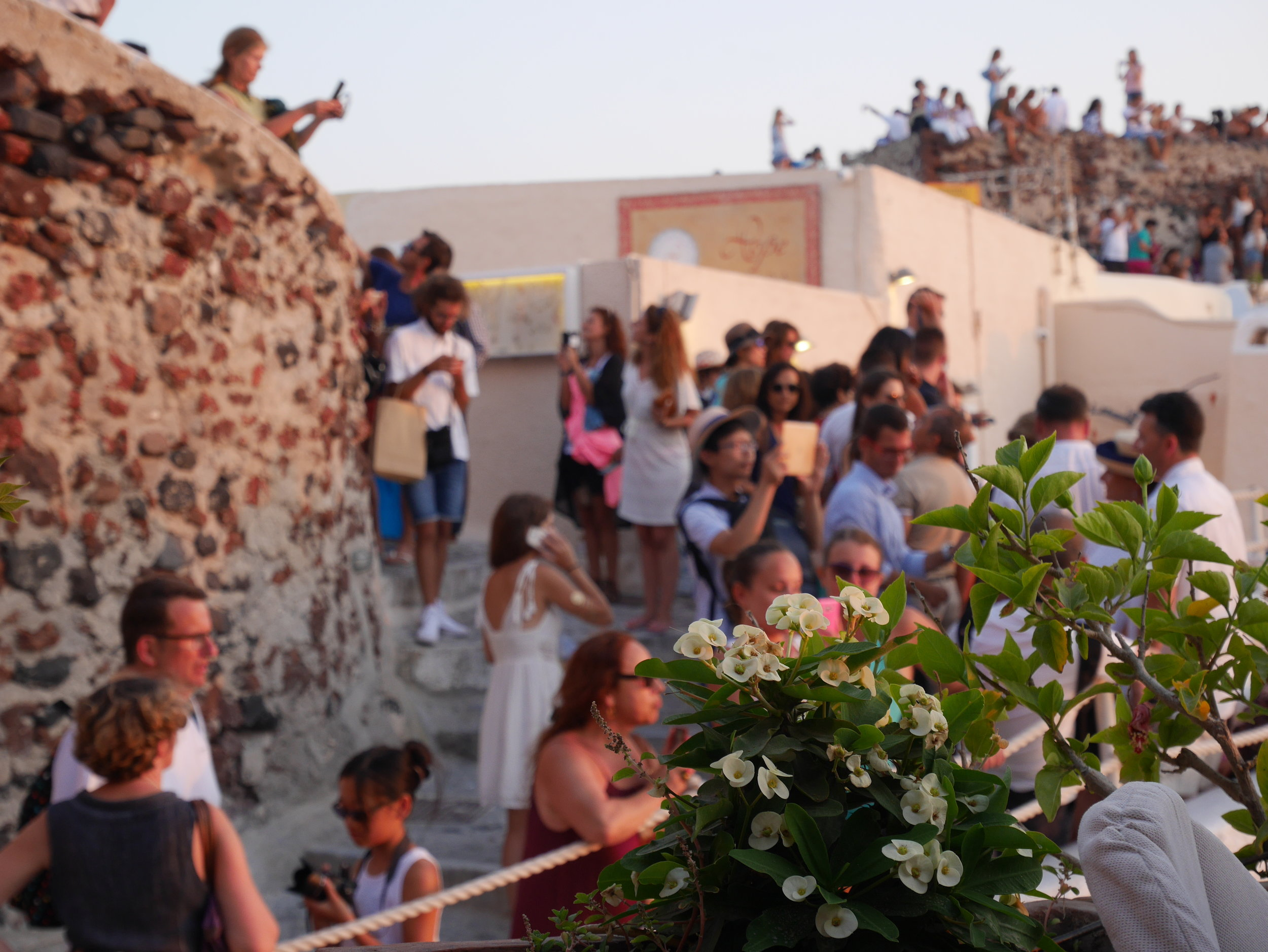 The crowds waiting to watch the sunset