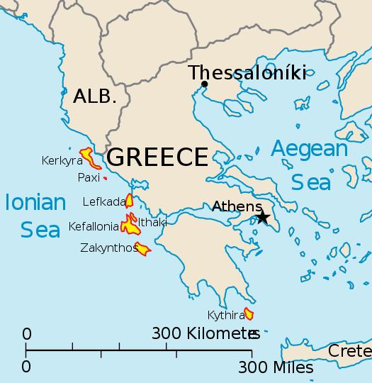 The seven largest Ionian sea Greek islands