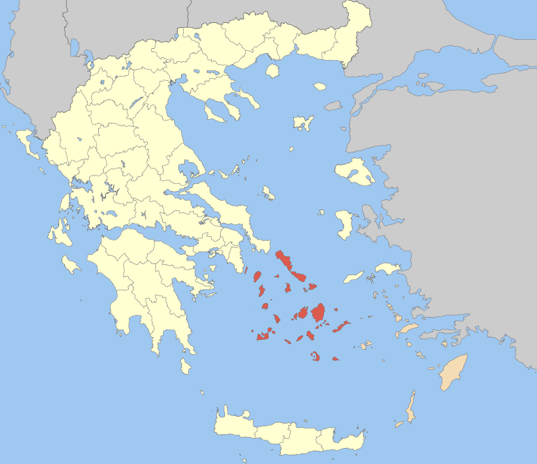 The Cyclades in red
